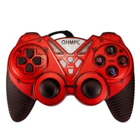 Quantum 7487-2V-C USB Game Pad With Shock Function For Windows (Red)