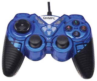 Quantum 7487-2V-C USB Game Pad With Shock Function For Windows (Blue)