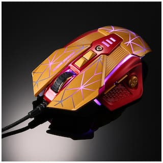 Rajfoo Esport Gaming Mouse Ergonomic Macro Programmable 8D Buttons Mice 800-4000DPI Breathing LED Light USB Wired for Pro Gamers