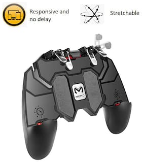 "Rednix Mobile Game Controller with L1R1 L2R2 Triggers, PUBG Mobile Controller 6 Fingers Operation, Joystick Remote Grip Shooting Aim Keys for 4.7-6.5"" iPhone Android iOS Cellphone Gamepad Accessories"