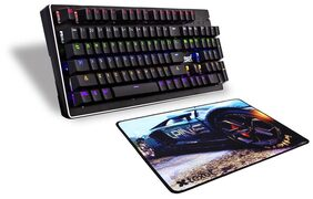 SHIFT FLAMER Real Mechanical Gaming Keyboard (104 keys) by TEXET + TEXET Racing Series Rubber Gaming Mouse pad