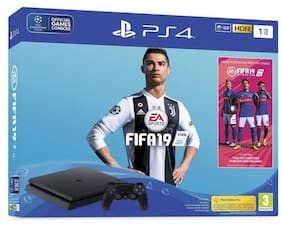 Sony PlayStation 4 (PS4) 1 TB with FIFA 19  (Jet Black)