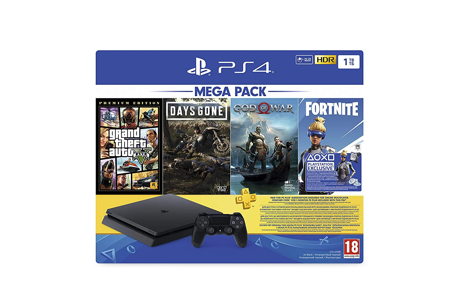 Sony PS4 1TB Slim console (Games Included : Grand theft Auto V...