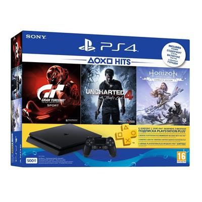 Sony PS4 500 GB Slim Console (Free Games: Gran Turismo - Sport/Uncharted 4/Horizon Zero Dawn)