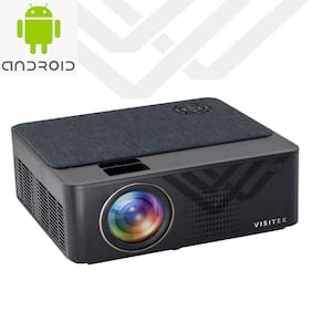 "Visitek V6 Smart Android HD 720p (1080p Support) | 3300L (390 ANSI) & 210 "" (5.3 m) Large Display LED Projector 
