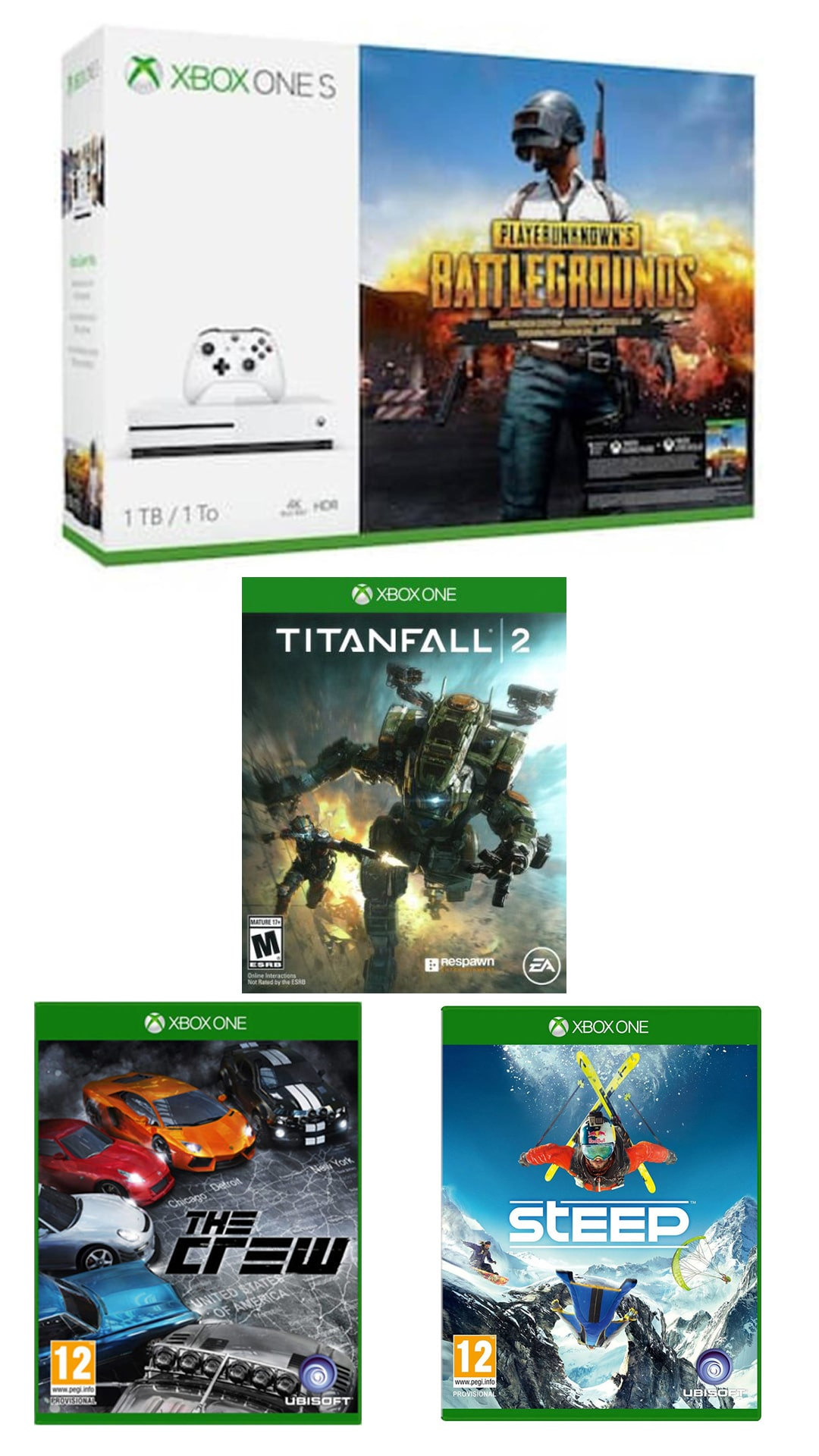 Xbox One S 1TB Console  PLAYERUNKNOWN S BATTLEGROUNDS Bundle With Steep & The Crew (DLC) + Titanfall 2 Xbox One ( CD )