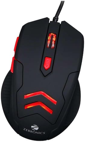 Zebronics Feather Wired Optical Gaming Mouse with mousepad  (USB 2.0, Black)