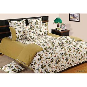 Swayam Sea Green and Off White Colour Floral Fitted Double Bed Sheet with Pillow Covers