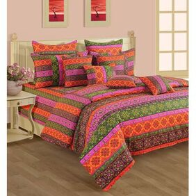Swayam Shades N More Multi Red Double Bed Sheet with Two Pillow Covers
