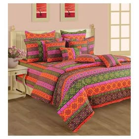 Swayam Cotton Abstract Single Size Bedsheet 144 TC ( 1 Bedsheet With 2 Pillow Covers , Multi )