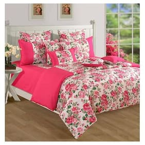 Swayam Cotton Abstract Single Size Bedsheet 144 TC ( 1 Bedsheet With 2 Pillow Covers , Pink )