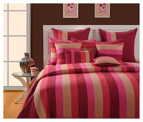 Swayam Cotton Striped Single Size Bedsheet 144 TC ( 1 Bedsheet With 1 Pillow Covers , Magenta )