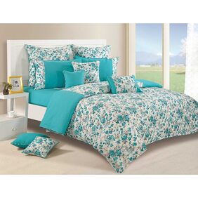 Swayam Shades Of Paradise Turquoise King Size Bed Sheet with Two Pillow Covers