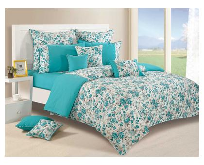 Swayam Teal and White Colour Floral Fitted Double Bed Sheet with Pillow...