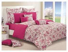 Swayam Cotton Floral Double Size Bedsheet 144 TC ( 1 Bedsheet With 2 Pillow Covers , Magenta )