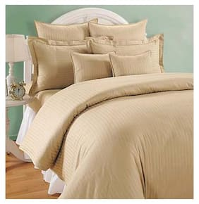 Swayam Cotton Striped Double Size Bedsheet 144 TC ( 1 Bedsheet With 2 Pillow Covers , Beige )