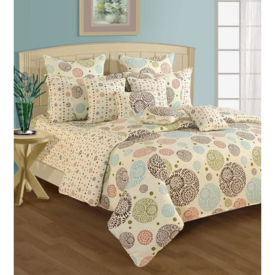 Swayam Cream And Brown Colour Motifs Fitted Double Bed Sheet With Pillow  Covers