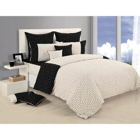 Swayam Black and White  Floral Double Bed Sheet with Pillow Covers