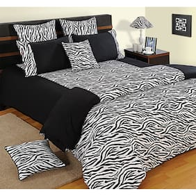 Swayam 160 TC Solid Flat Double Bedsheet ( Black , Pack of 3 )