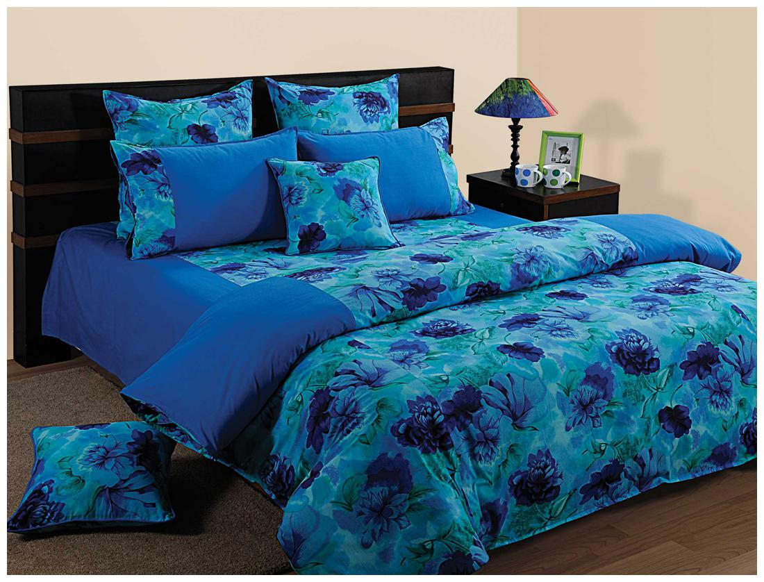 Swayam Blue and Navy Blue Colour Floral Fitted Double Bed Sheet with...