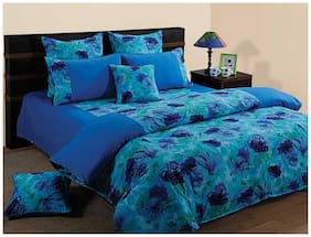 Swayam Cotton Solid Single Size Bedsheet 144 TC ( 1 Bedsheet With 1 Pillow Covers , Blue )