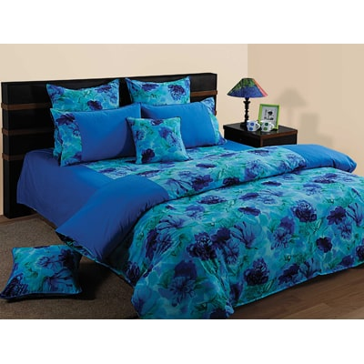 Swayam Blue And Navy Blue Floral Single Bed Sheet With Pillow Covers
