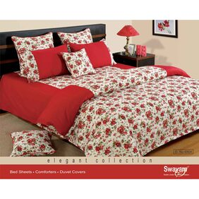 Swayam Red and White Colour Floral Fitted Double Bed Sheet with Pillow Covers