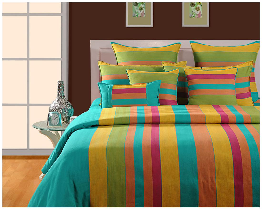 Swayam Green and Yellow Stripes Double Bed Sheet with Pillow Covers