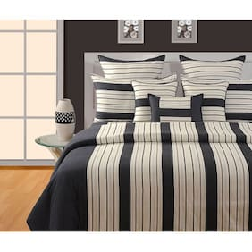 Swayam Cotton Striped Single Size Bedsheet 144 TC ( 1 Bedsheet With 1 Pillow Covers , Black )