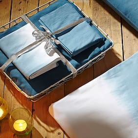 House This 210 Tc Blue 1 Double Bedsheet With 2 Pillow Covers