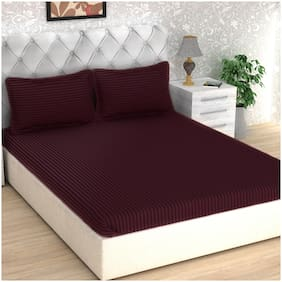 Story@Home Cotton Striped Double Size Bedsheet 300 TC ( 1 Bedsheet With 2 Pillow Covers , Magenta )