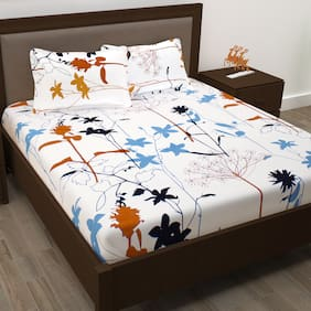 Story@ Home Metro 186 TC Cotton Double Bedsheet with 2 Pillow Covers - White