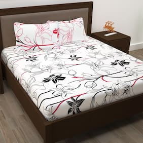 Story@Home Cotton Floral Double Size Bedsheet 186 TC ( 1 Bedsheet With 2 Pillow Covers , White )