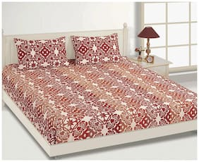 House This Pure Cotton Red 1 Single Bed Sheet & 1 Pillow Cover