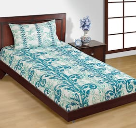 House This Pure Cotton Blue 1 Single Bed Sheet & 1 Pillow Cover