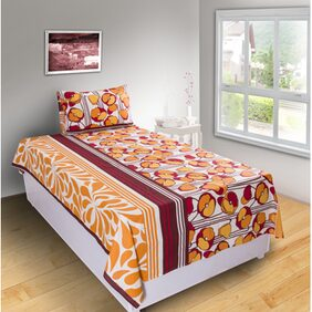 House This 210 Tc Red 1 Single Bed Sheet & 1 Pillow Cover
