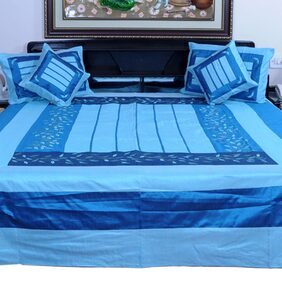 Little India 5 Piece Embroidered Silk Double Bed Cover Set