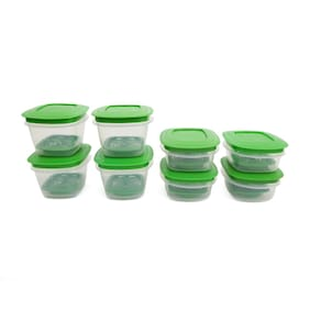 Cutting Edge Veggie Fresh 8 Pcs Combo Food Storage Containers  With Freshness Trays (Green) (12000 Ml )