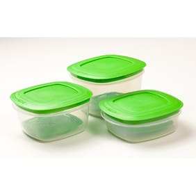 Cutting Edge Veggie Fresh 3 Pcs Combo Food Storage Containers  With Freshness Trays (Green) (4500 Ml )