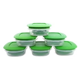 Cutting Edge Veggie Fresh 6 Pcs Food Storage Containers  With Freshness Trays (Green) (6000 Ml )