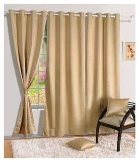 Swayam Silk Long Door Blackout Beige Regular Curtain ( Eyelet Closure , Floral )