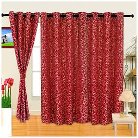 Cortina Set Of 2 Techno Red Door Curtain (2 Pc)