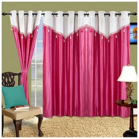 Cortina Polyester Door Semi Transparent Pink Regular Curtain ( Eyelet Closure , Floral )