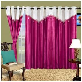 Cortina Polyester Window Semi Transparent Purple Regular Curtain ( Eyelet Closure , Floral )