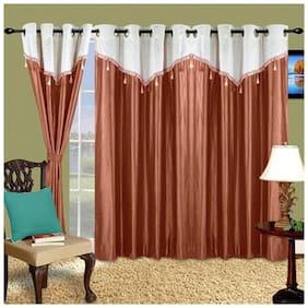 Cortina Polyester Door Semi Transparent Brown Regular Curtain ( Eyelet Closure , Floral )