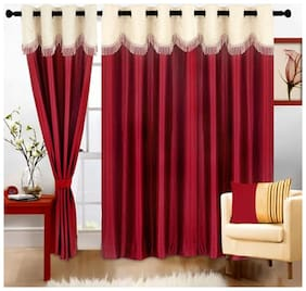 Cortina Polyester Window Semi Transparent Maroon Regular Curtain ( Eyelet Closure , Floral )