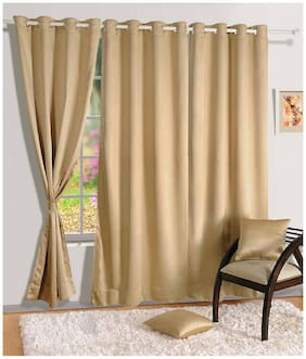 Swayam Silk Door Blackout Beige Regular Curtain ( Eyelet Closure , Geometric )