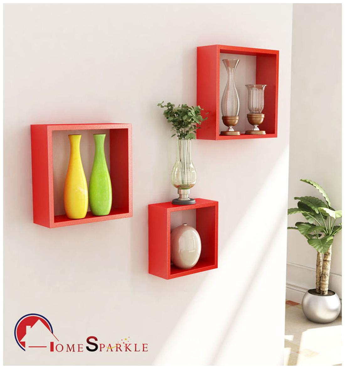 Home Sparkle Wooden Cube Wall Shelves Set Of 3 by Home Sparkle