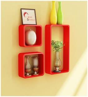 Home Sparkle Set Of Three Wall Cube Shelf