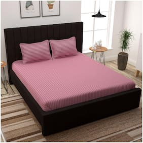 Story@Home Cotton Striped King Size Bedsheet 300 TC ( 1 Bedsheet With 2 Pillow Covers , Pink )